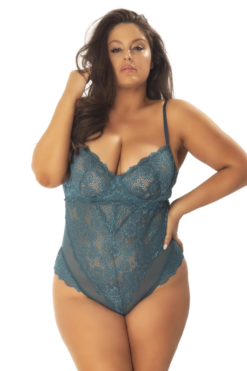 UNLINED LACE TEDDY WITH UNDERWIRE (PLUS SIZE)